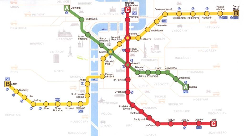 Prague-Downtown-Metro-Map